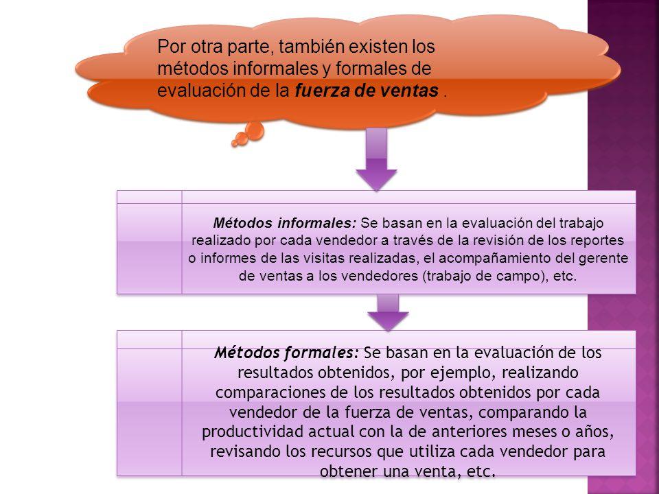 Por otra parte, también existen los métodos informales y formales de evaluación de la fuerza de ventas. Métodos informales: Se basan en la evaluación