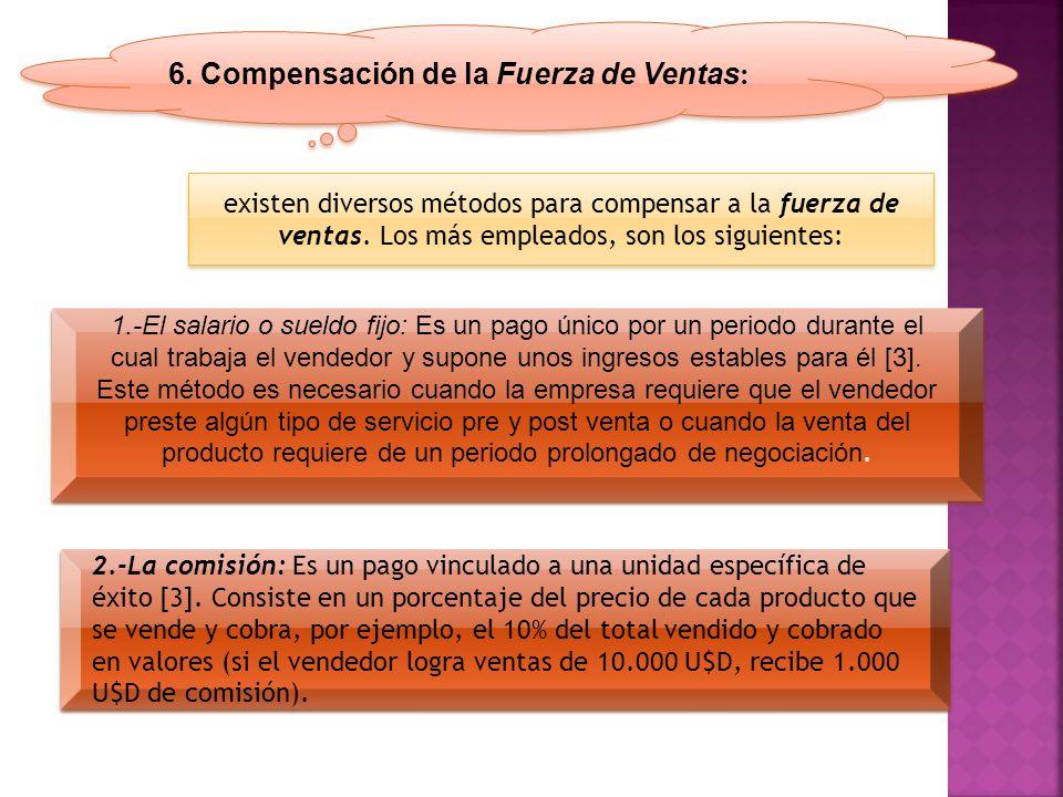 6. Compensación de la Fuerza de Ventas : existen diversos métodos para compensar a la fuerza de ventas. Los más empleados, son los siguientes: 1.-El s