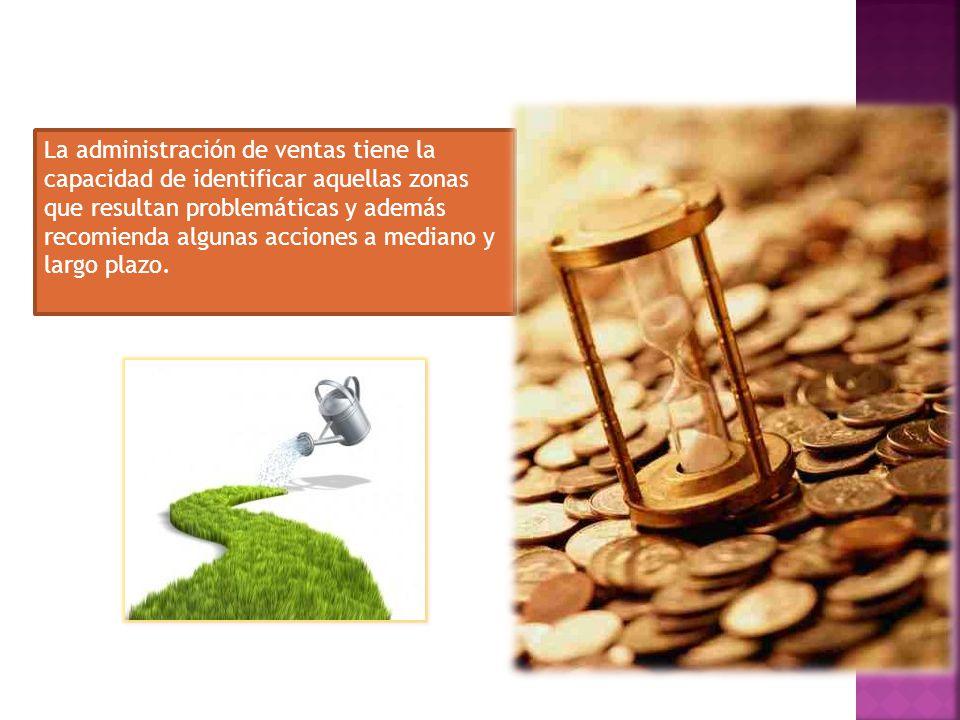La administración de ventas tiene la capacidad de identificar aquellas zonas que resultan problemáticas y además recomienda algunas acciones a mediano