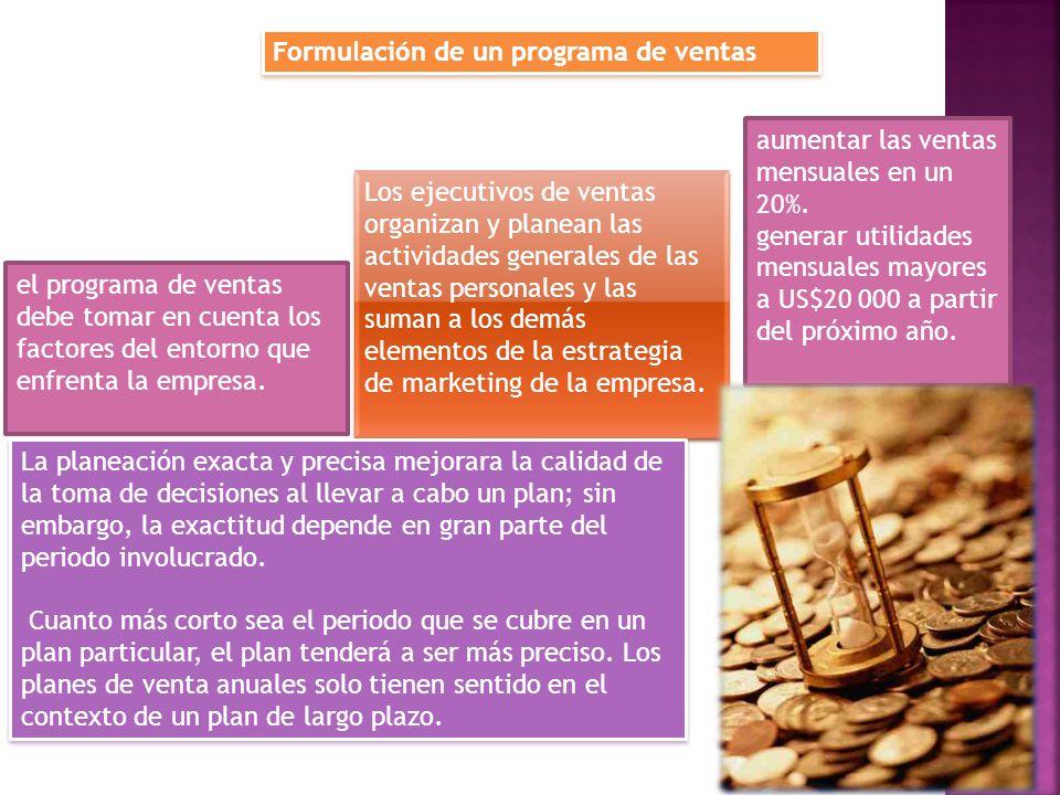 Formulación de un programa de ventas el programa de ventas debe tomar en cuenta los factores del entorno que enfrenta la empresa. Los ejecutivos de ve