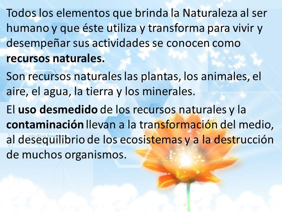Todos los elementos que brinda la Naturaleza al ser humano y que éste utiliza y transforma para vivir y desempeñar sus actividades se conocen como recursos naturales.