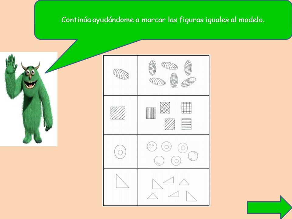 Continúa ayudándome a marcar las figuras iguales al modelo.