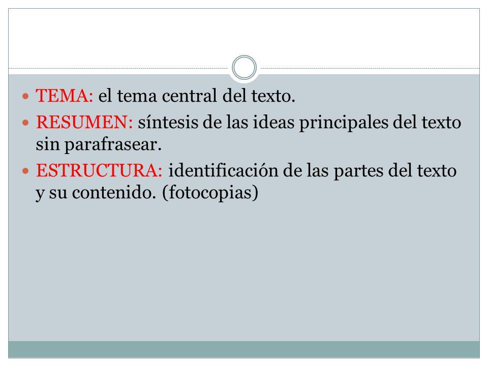 TEMA: el tema central del texto.