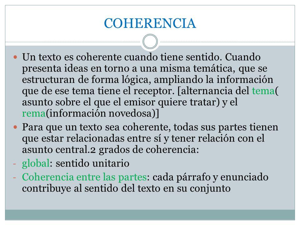 COHERENCIA Un texto es coherente cuando tiene sentido.