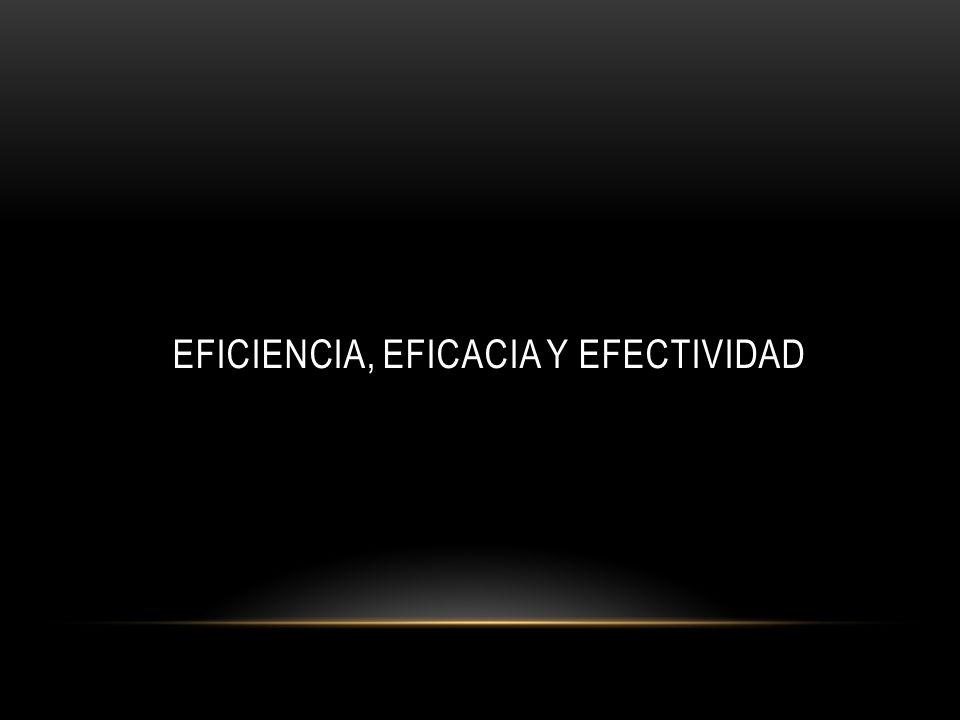 EFICIENCIA, EFICACIA Y EFECTIVIDAD