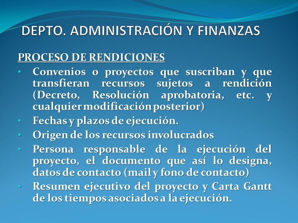 PROCESO DE RENDICIONES Convenios o proyectos que suscriban y que transfieran recursos sujetos a rendición (Decreto, Resolución aprobatoria, etc. y cua
