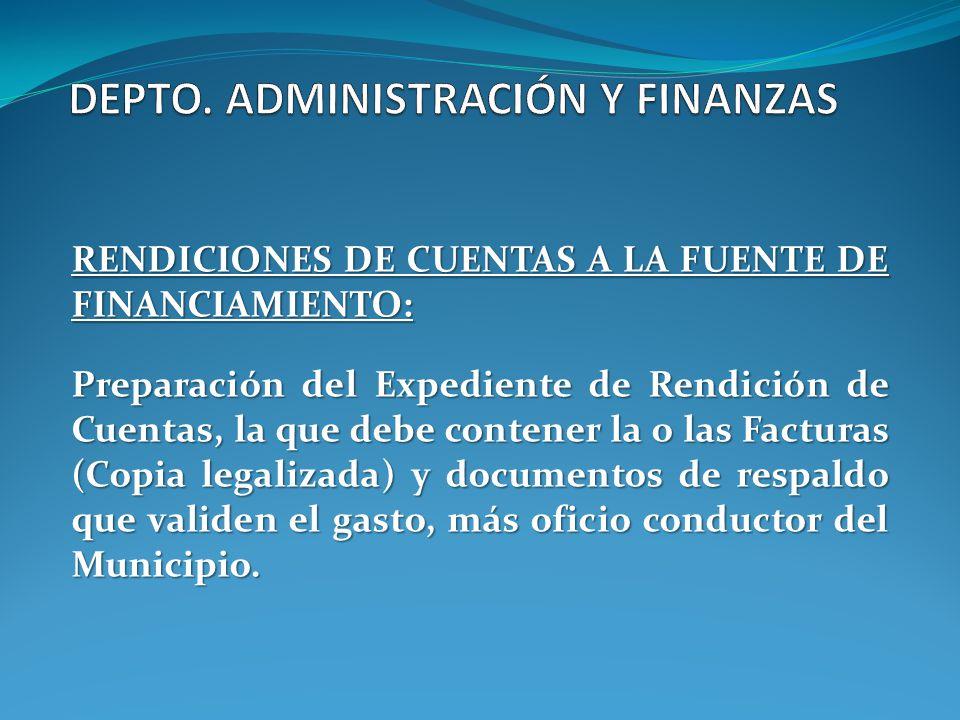 RENDICIONES DE CUENTAS A LA FUENTE DE FINANCIAMIENTO: Preparación del Expediente de Rendición de Cuentas, la que debe contener la o las Facturas (Copi