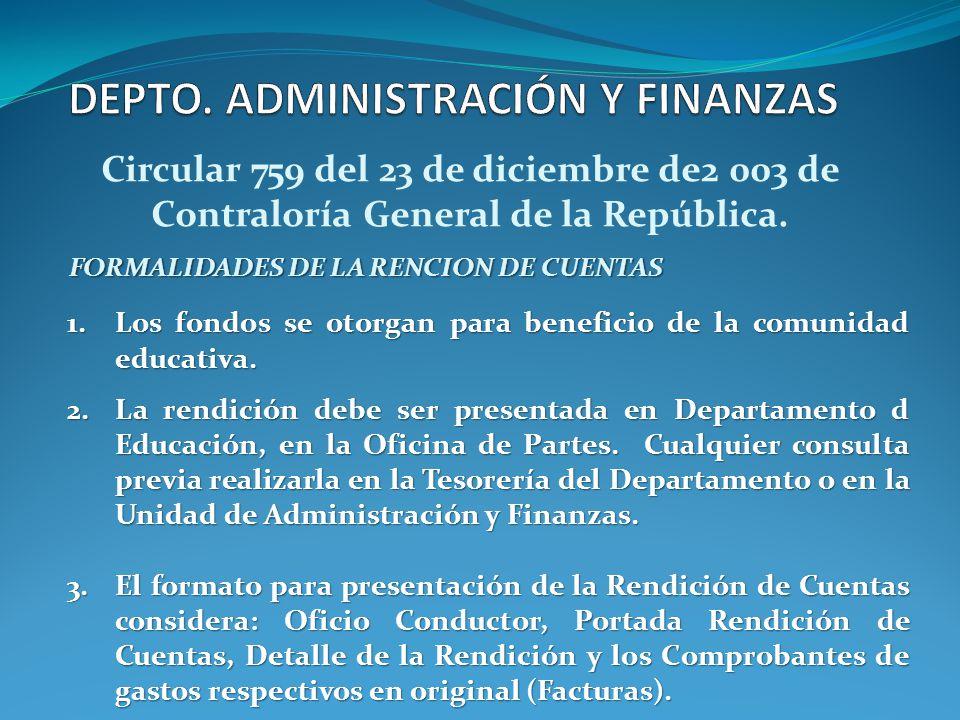 Circular 759 del 23 de diciembre de2 003 de Contraloría General de la República. FORMALIDADES DE LA RENCION DE CUENTAS 1.Los fondos se otorgan para be