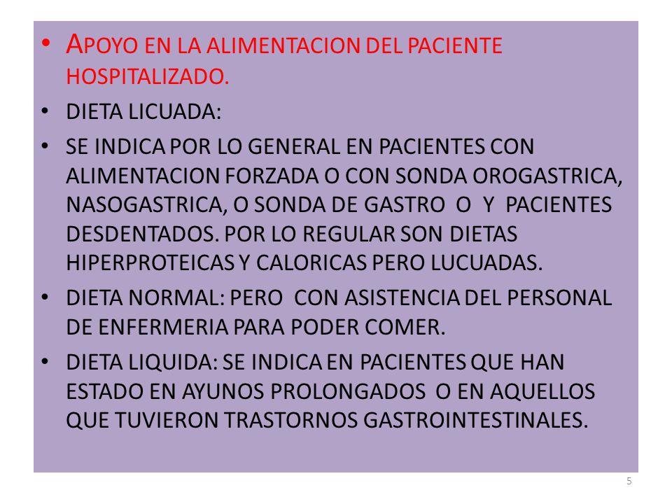 A POYO EN LA ALIMENTACION DEL PACIENTE HOSPITALIZADO.