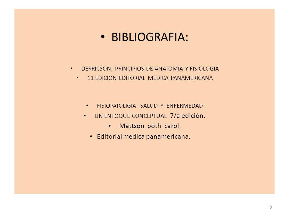 BIBLIOGRAFIA: DERRICSON, PRINCIPIOS DE ANATOMIA Y FISIOLOGIA 11 EDICION EDITORIAL MEDICA PANAMERICANA FISIOPATOLIGIA SALUD Y ENFERMEDAD UN ENFOQUE CONCEPTUAL 7/a edición.