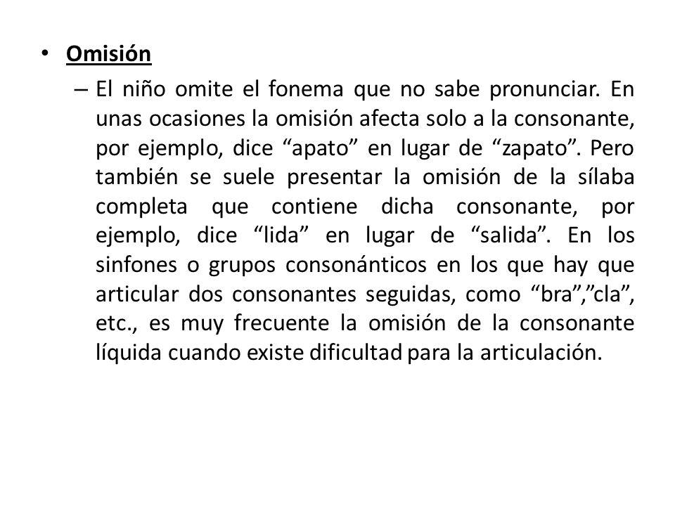 Omisión – El niño omite el fonema que no sabe pronunciar.