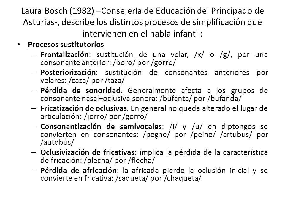 Laura Bosch (1982) –Consejería de Educación del Principado de Asturias-, describe los distintos procesos de simplificación que intervienen en el habla infantil: Procesos sustitutorios – Frontalización: sustitución de una velar, /x/ o /g/, por una consonante anterior: /boro/ por /gorro/ – Posteriorización: sustitución de consonantes anteriores por velares: /caza/ por /taza/ – Pérdida de sonoridad.