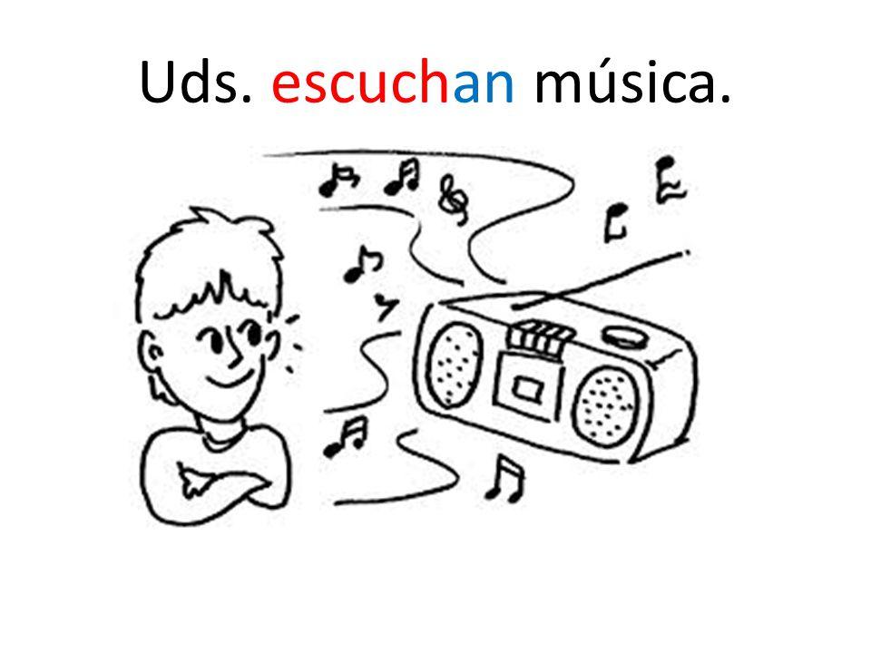 Cada verbo en español termina con… -AR (tocar, escuchar, mirar, etc.) -ER (querer,comer, beber, etc.) -IR (escribir, vivir, etc.)