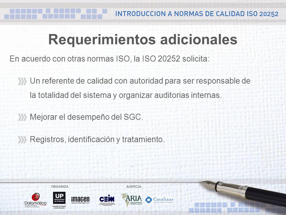 Requerimientos adicionales En acuerdo con otras normas ISO, la ISO 20252 solicita: Un referente de calidad con autoridad para ser responsable de la totalidad del sistema y organizar auditorias internas.