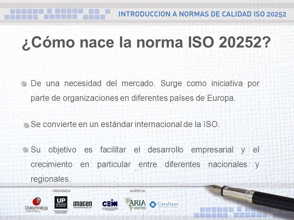 ¿Cómo nace la norma ISO 20252. De una necesidad del mercado.