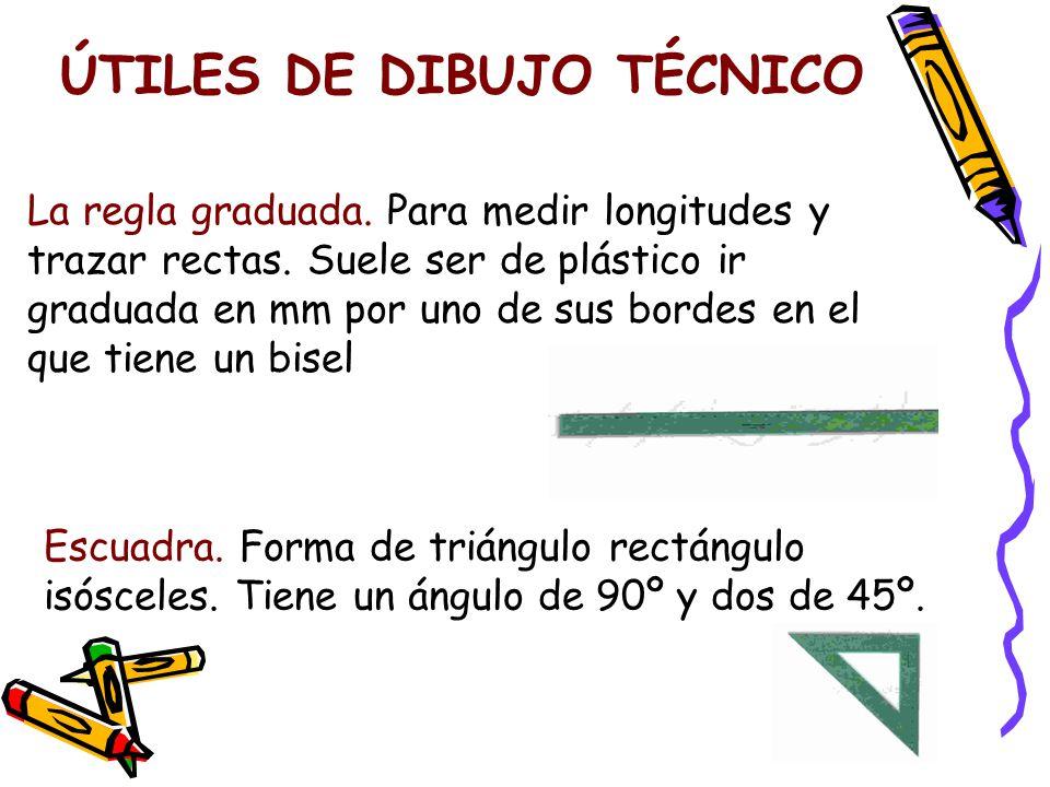 ÚTILES DE DIBUJO TÉCNICO La regla graduada.Para medir longitudes y trazar rectas.