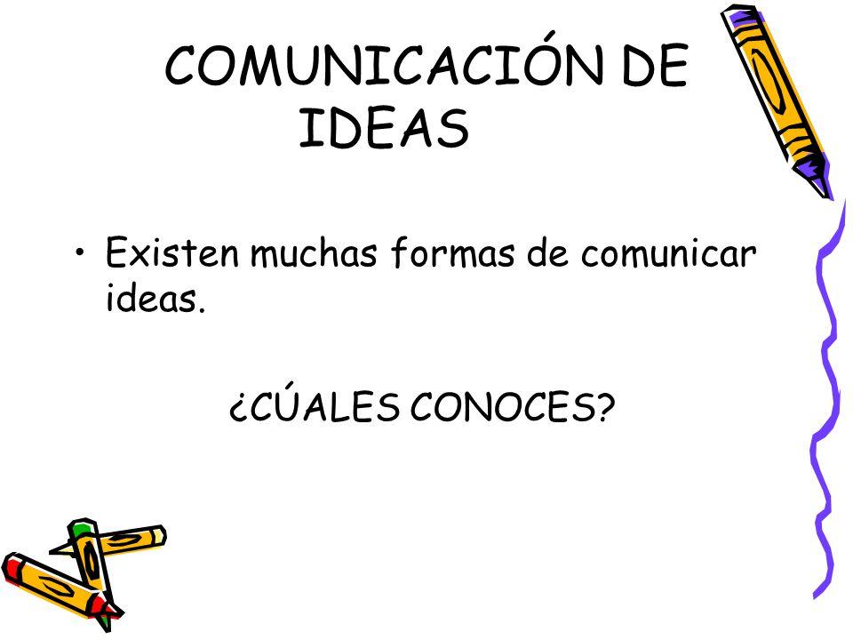 COMUNICACIÓN DE IDEAS Existen muchas formas de comunicar ideas. ¿CÚALES CONOCES?