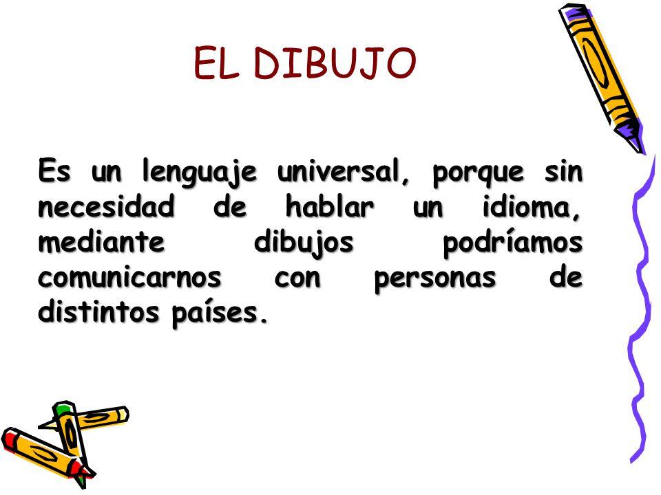 EL DIBUJO Es un lenguaje universal, porque sin necesidad de hablar un idioma, mediante dibujos podríamos comunicarnos con personas de distintos países.