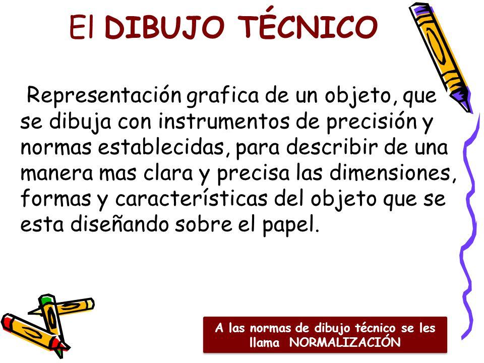 El DIBUJO TÉCNICO Representación grafica de un objeto, que se dibuja con instrumentos de precisión y normas establecidas, para describir de una manera mas clara y precisa las dimensiones, formas y características del objeto que se esta diseñando sobre el papel.
