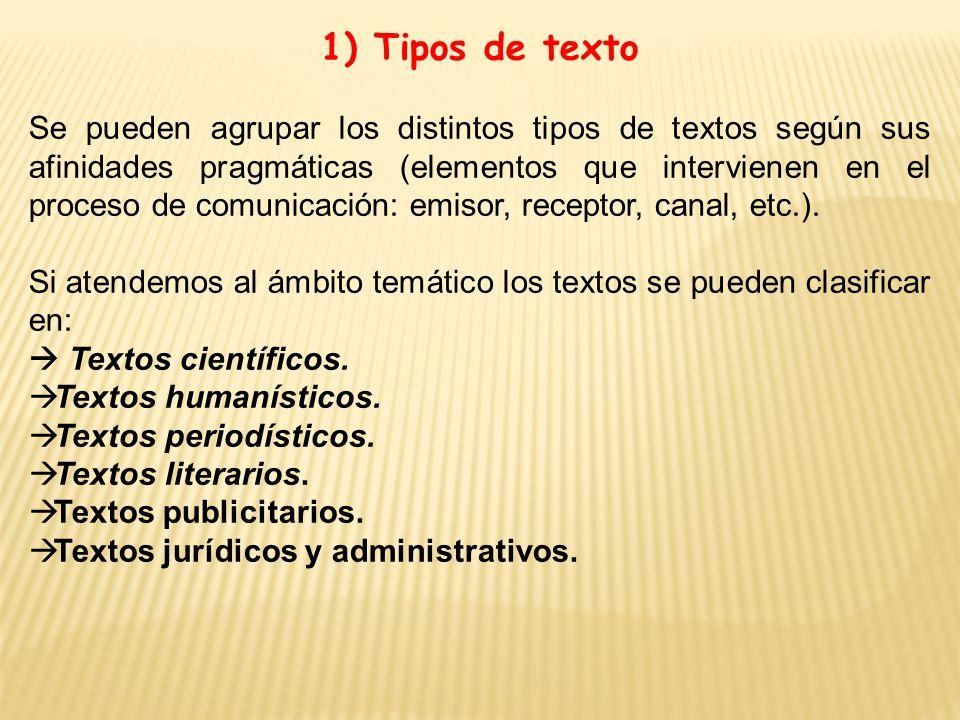 1) Tipos de texto Se pueden agrupar los distintos tipos de textos según sus afinidades pragmáticas (elementos que intervienen en el proceso de comunicación: emisor, receptor, canal, etc.).