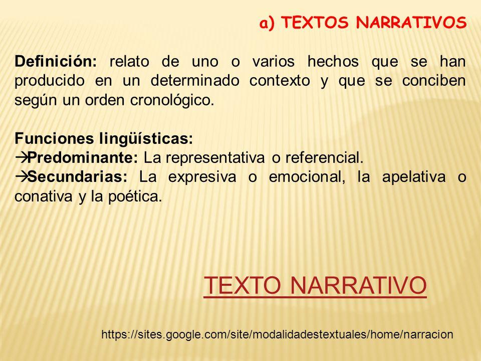 a) TEXTOS NARRATIVOS Definición: relato de uno o varios hechos que se han producido en un determinado contexto y que se conciben según un orden cronológico.