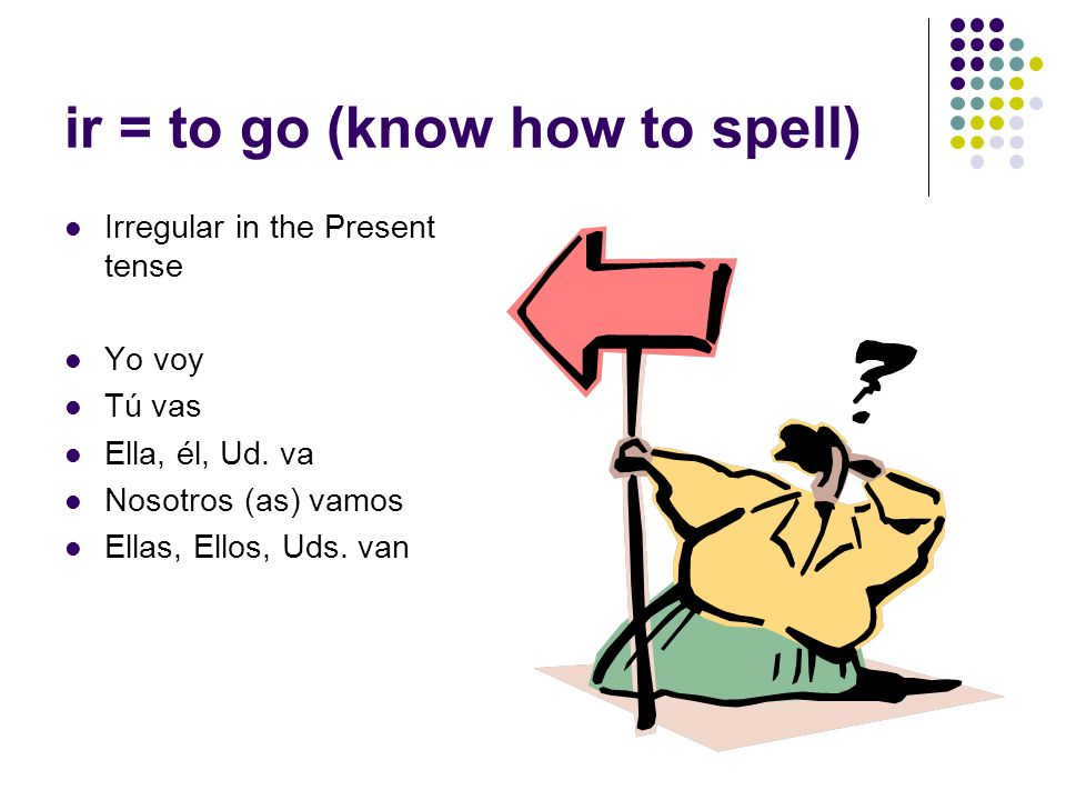ir = to go (know how to spell) Irregular in the Present tense Yo voy Tú vas Ella, él, Ud.