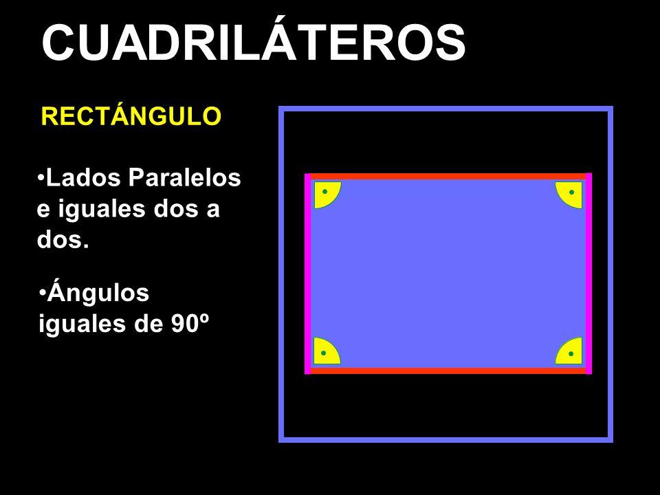 CUADRILÁTEROS RECTÁNGULO Lados Paralelos e iguales dos a dos. Ángulos iguales de 90º