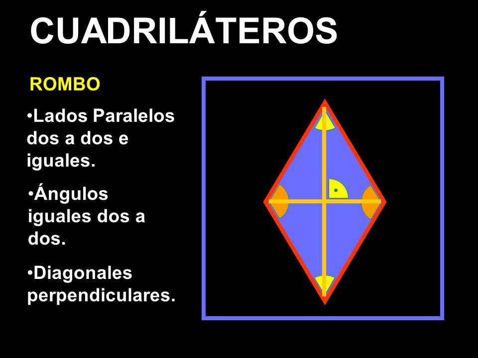 CUADRILÁTEROS ROMBO Lados Paralelos dos a dos e iguales.