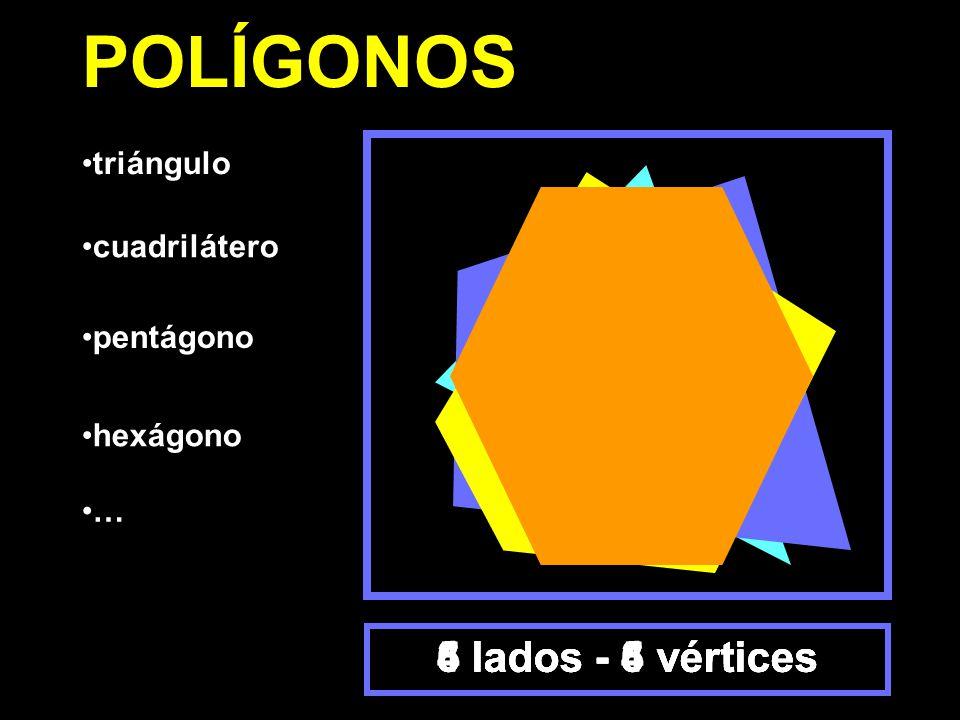 triángulo cuadrilátero pentágono hexágono 3 lados - 3 vértices4 lados - 4 vértices5 lados - 5 vértices6 lados - 6 vértices POLÍGONOS …