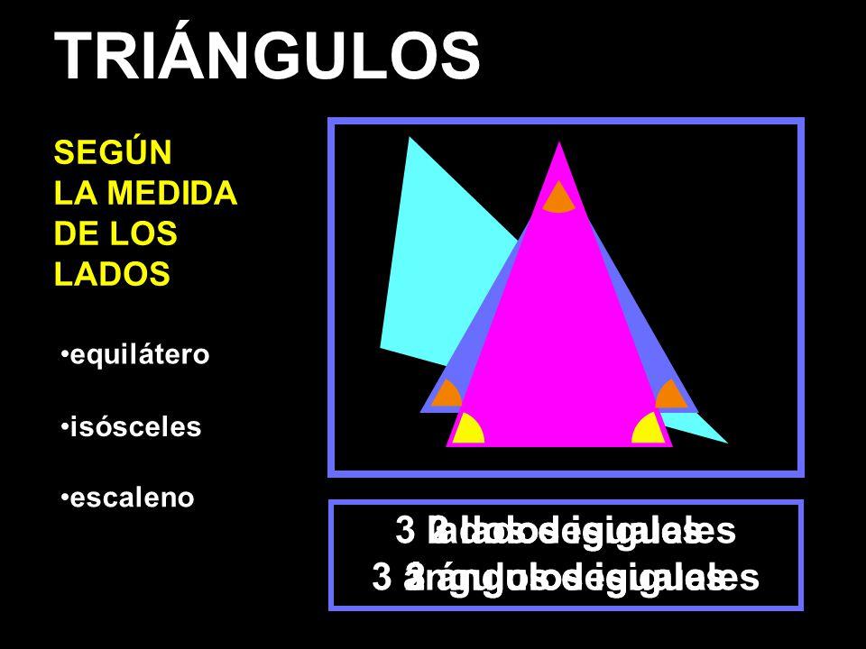 equilátero isósceles escaleno 3 lados iguales 3 ángulos iguales 2 lados iguales 2 ángulos iguales 3 lados desiguales 3 ángulos desiguales TRIÁNGULOS SEGÚN LA MEDIDA DE LOS LADOS
