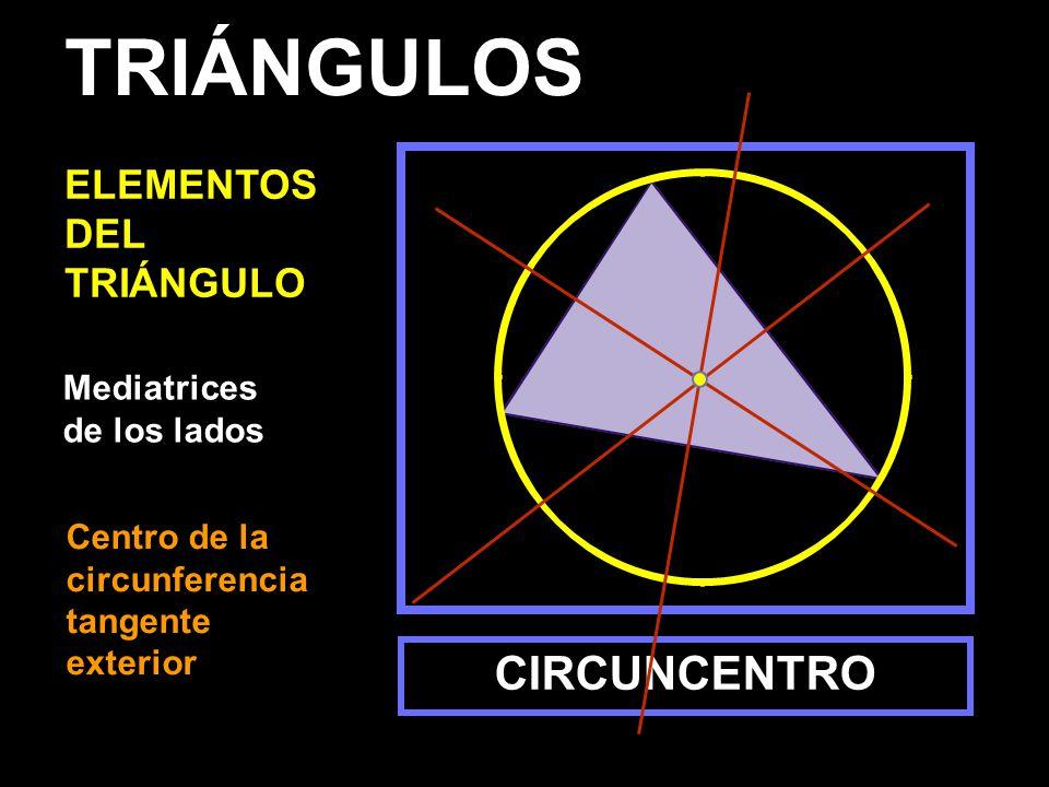 Mediatrices de los lados CIRCUNCENTRO TRIÁNGULOS ELEMENTOS DEL TRIÁNGULO Centro de la circunferencia tangente exterior