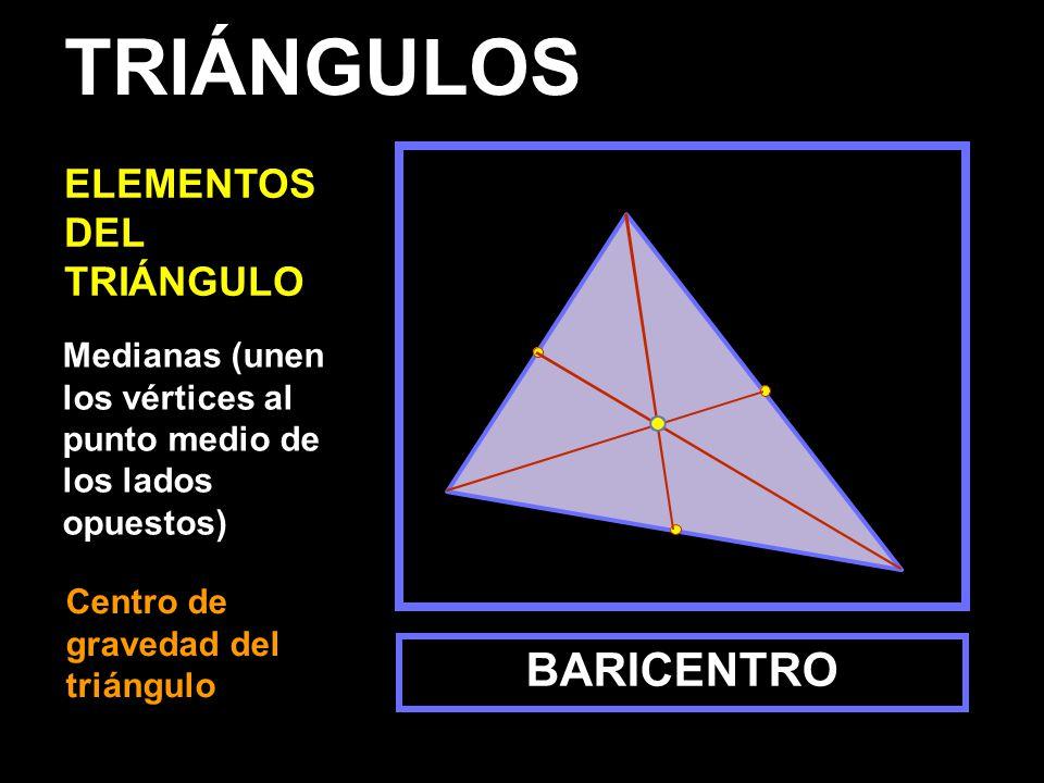 Medianas (unen los vértices al punto medio de los lados opuestos) BARICENTRO TRIÁNGULOS ELEMENTOS DEL TRIÁNGULO Centro de gravedad del triángulo