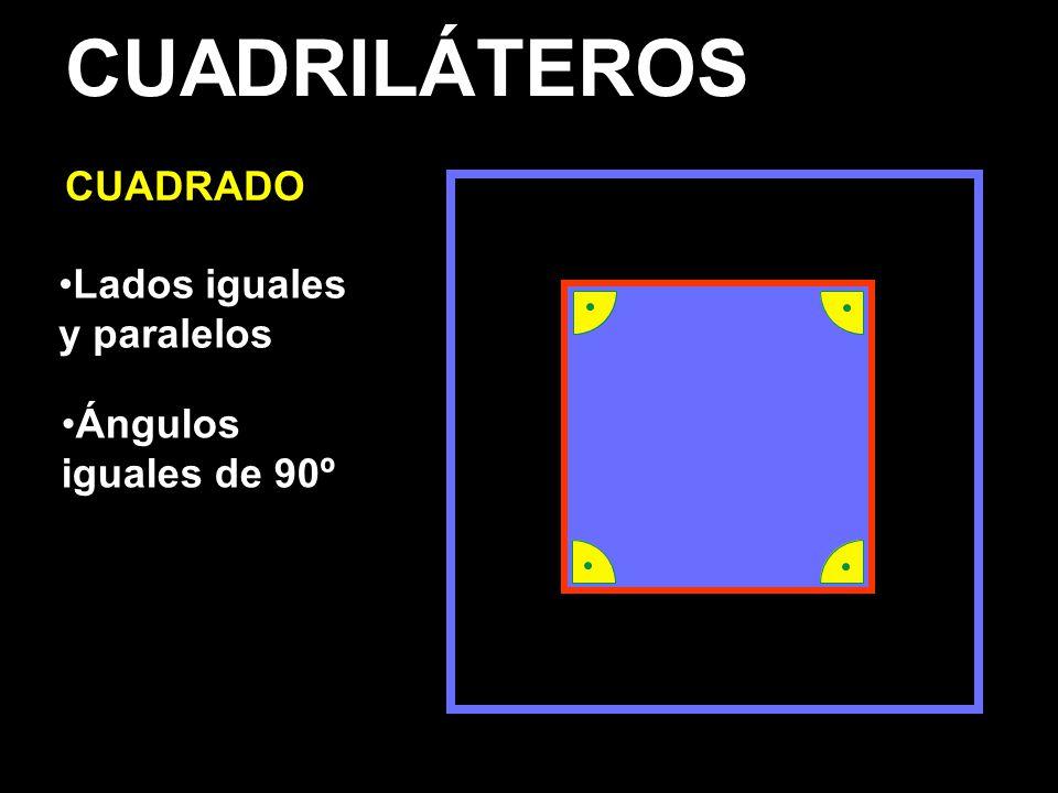 CUADRILÁTEROS CUADRADO Lados iguales y paralelos Ángulos iguales de 90º