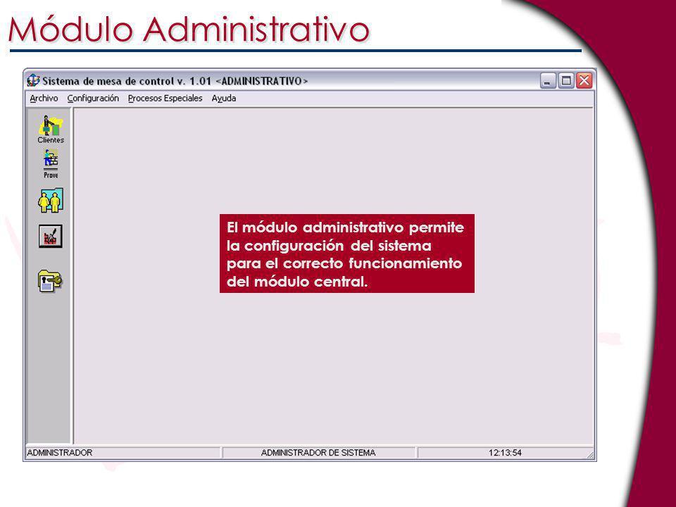 El módulo administrativo permite la configuración del sistema para el correcto funcionamiento del módulo central. Módulo Administrativo