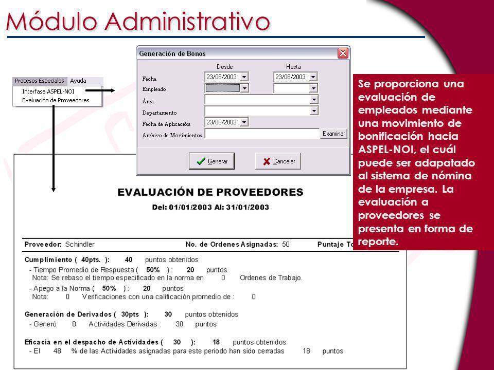 Se proporciona una evaluación de empleados mediante una movimiento de bonificación hacia ASPEL-NOI, el cuál puede ser adapatado al sistema de nómina d