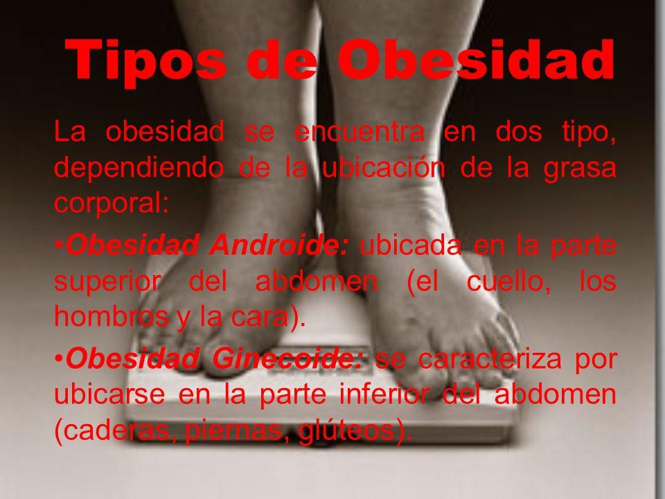 Tipos de Obesidad La obesidad se encuentra en dos tipo, dependiendo de la ubicación de la grasa corporal: Obesidad Androide: ubicada en la parte superior del abdomen (el cuello, los hombros y la cara).