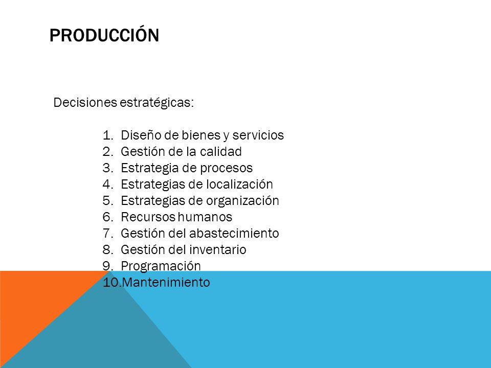 PRODUCCIÓN Decisiones estratégicas: 1.Diseño de bienes y servicios 2.Gestión de la calidad 3.Estrategia de procesos 4.Estrategias de localización 5.Es