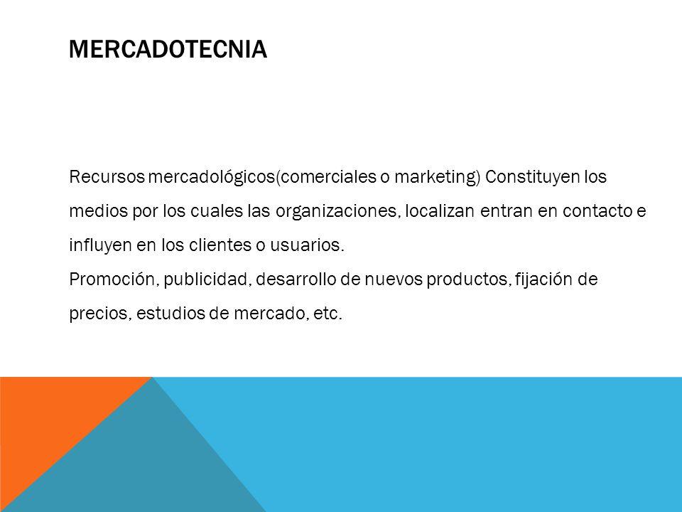 MERCADOTECNIA Recursos mercadológicos(comerciales o marketing) Constituyen los medios por los cuales las organizaciones, localizan entran en contacto