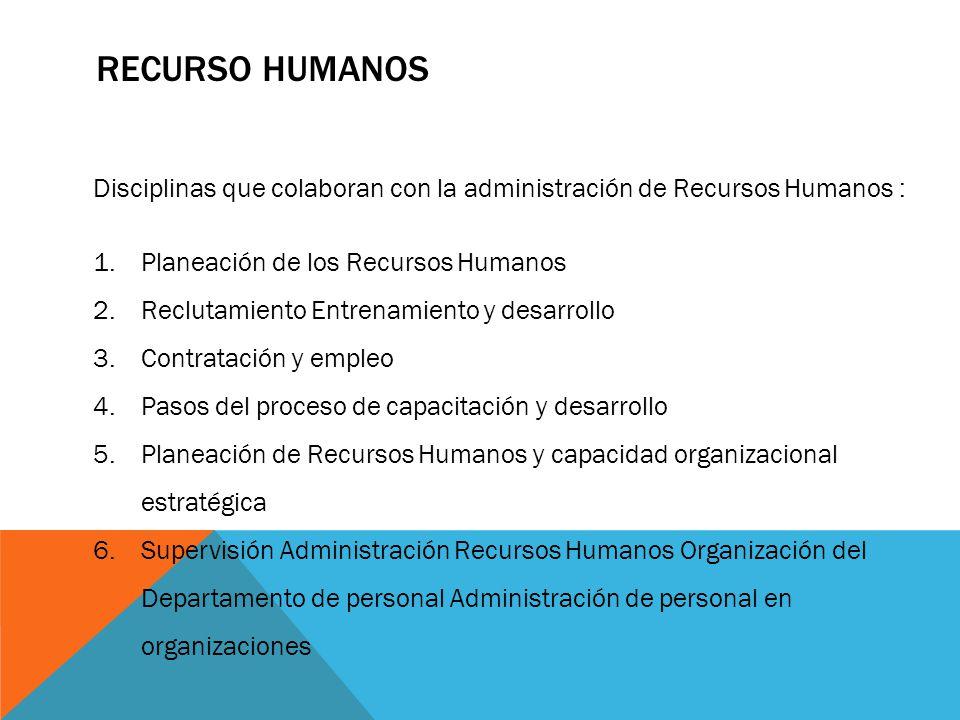 RECURSO HUMANOS Disciplinas que colaboran con la administración de Recursos Humanos : 1.Planeación de los Recursos Humanos 2.Reclutamiento Entrenamien