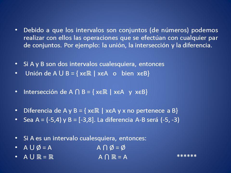 Debido a que los intervalos son conjuntos (de números) podemos realizar con ellos las operaciones que se efectúan con cualquier par de conjuntos. Por