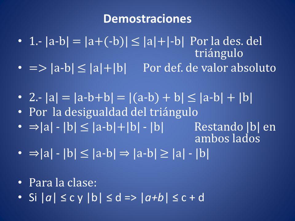 Demostraciones 1.- |a-b| = |a+(-b)| ≤ |a|+|-b| Por la des. del triángulo => |a-b| ≤ |a|+|b| Por def. de valor absoluto 2.- |a| = |a-b+b| = |(a-b) + b|