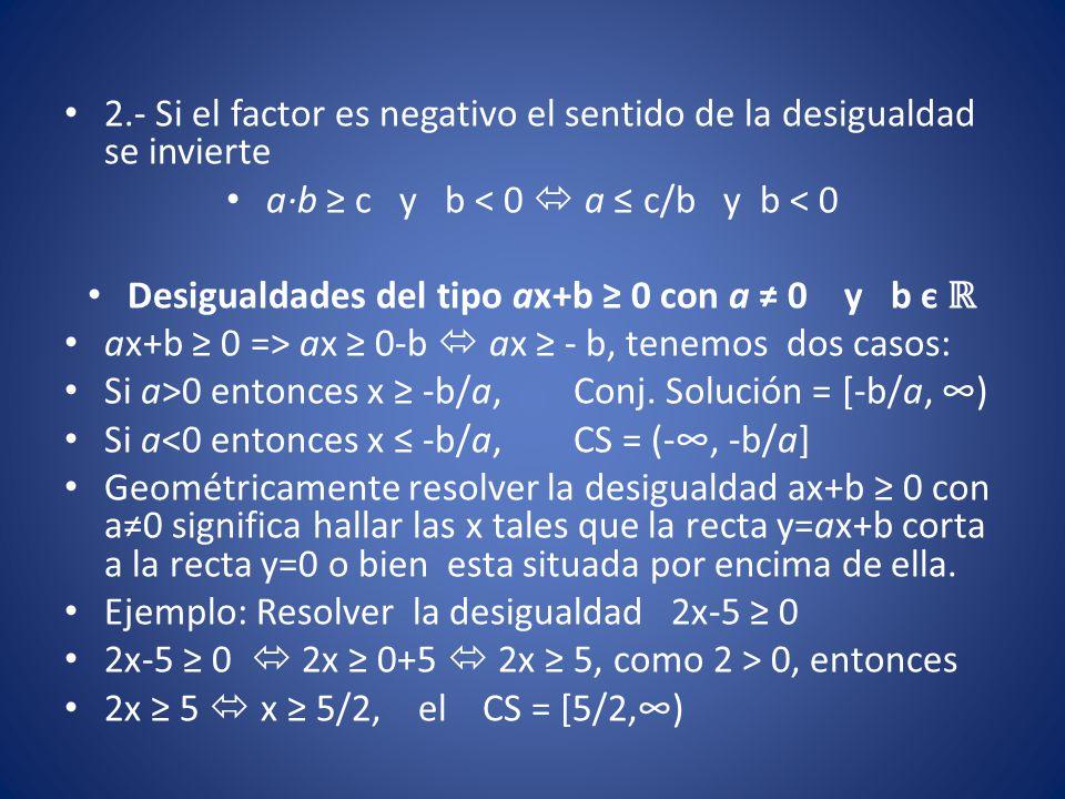 2.- Si el factor es negativo el sentido de la desigualdad se invierte a∙b ≥ c y b < 0  a ≤ c/b y b < 0 Desigualdades del tipo ax+b ≥ 0 con a ≠ 0 y b