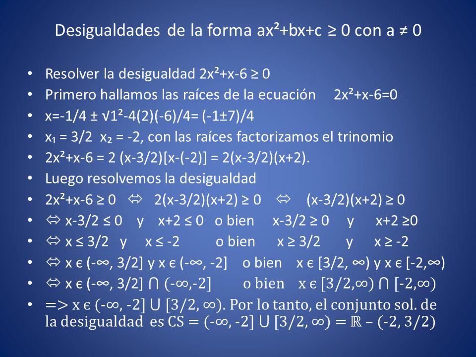 Desigualdades de la forma ax²+bx+c ≥ 0 con a ≠ 0 Resolver la desigualdad 2x²+x-6 ≥ 0 Primero hallamos las raíces de la ecuación 2x²+x-6=0 x=-1/4 ± √1²