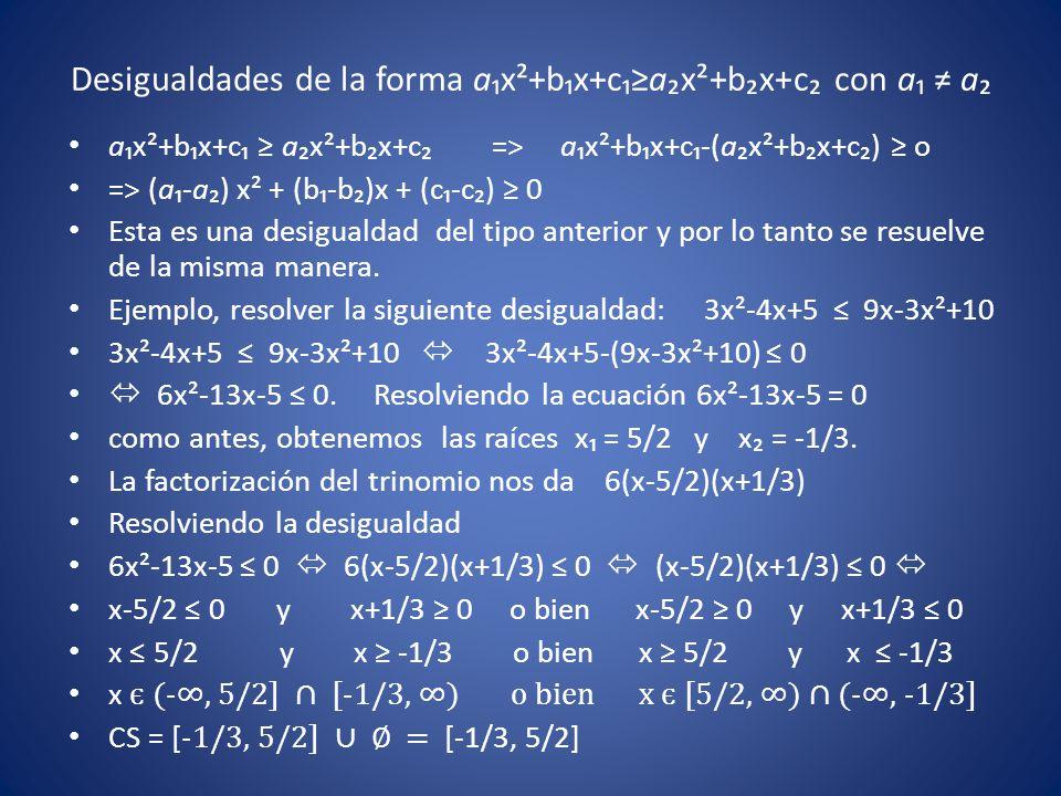 Desigualdades de la forma a₁x²+b₁x+c₁≥a₂x²+b₂x+c₂ con a₁ ≠ a₂ a₁x²+b₁x+c₁ ≥ a₂x²+b₂x+c₂ => a₁x²+b₁x+c₁-(a₂x²+b₂x+c₂) ≥ o => (a₁-a₂) x² + (b₁-b₂)x + (c