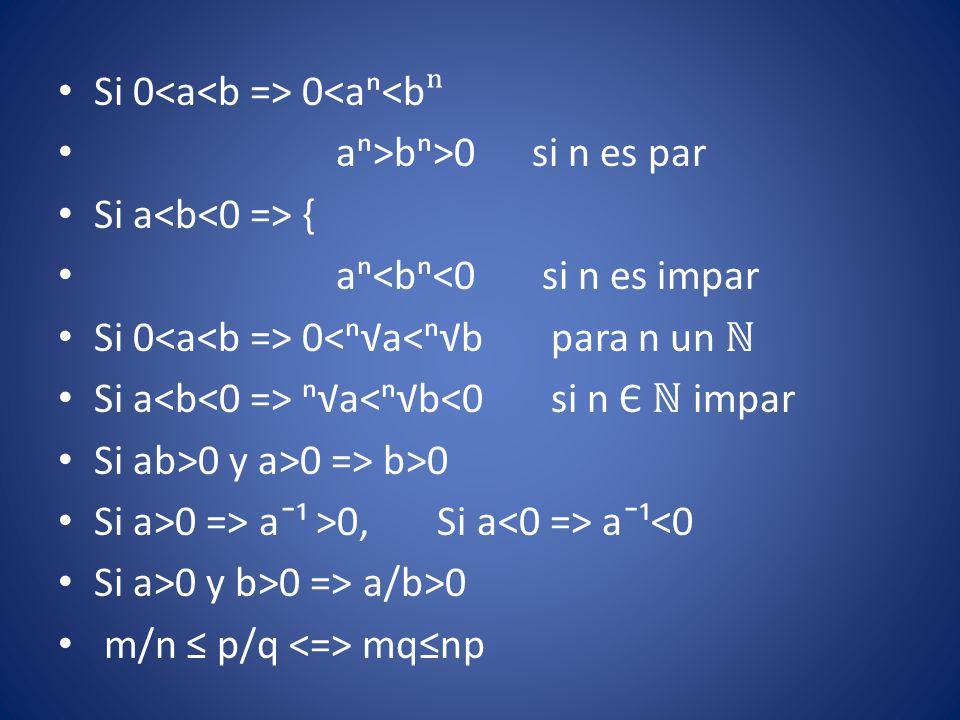 Si 0 0<aⁿ<b ⁿ aⁿ>bⁿ>0 si n es par Si a { aⁿ<bⁿ<0 si n es impar Si 0 0<ⁿ√a<ⁿ√b para n un ℕ Si a ⁿ√a<ⁿ√b<0 si n Є ℕ impar Si ab>0 y a>0 => b>0 Si a>0 =>