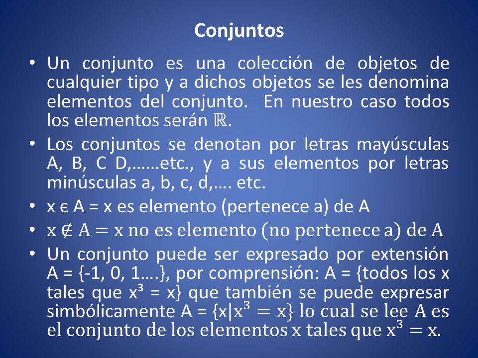 Conjuntos Un conjunto es una colección de objetos de cualquier tipo y a dichos objetos se les denomina elementos del conjunto. En nuestro caso todos l
