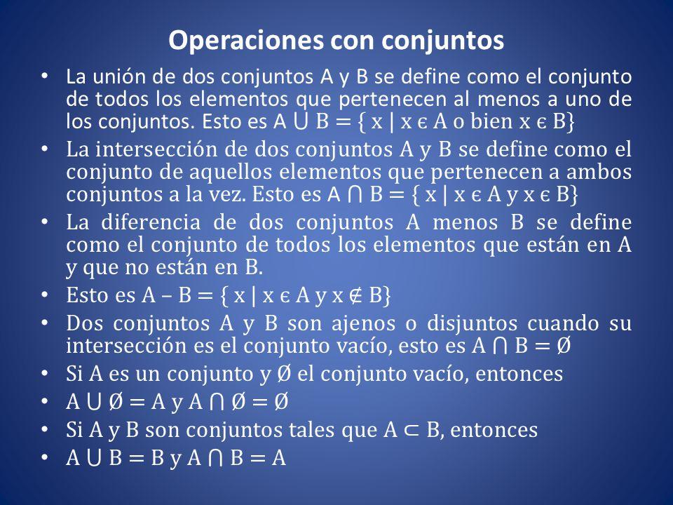 Operaciones con conjuntos La unión de dos conjuntos A y B se define como el conjunto de todos los elementos que pertenecen al menos a uno de los conju