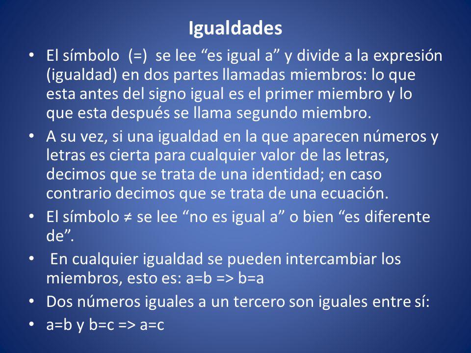"""Igualdades El símbolo (=) se lee """"es igual a"""" y divide a la expresión (igualdad) en dos partes llamadas miembros: lo que esta antes del signo igual es"""