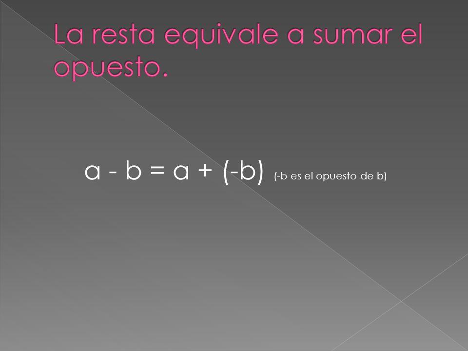 a - b = a + (-b) (-b es el opuesto de b)