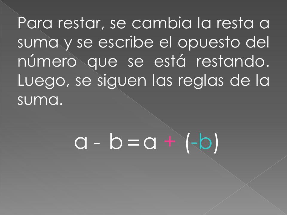 Para restar, se cambia la resta a suma y se escribe el opuesto del número que se está restando. Luego, se siguen las reglas de la suma. a - b = a+(-b)